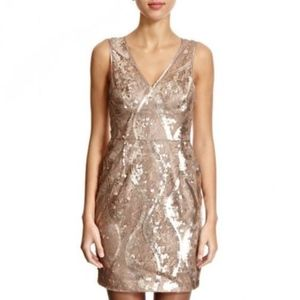 Adrianna Papell Gold Lace Sequin Cocktail Dress